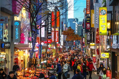 Korea, Seoul City, Myeongdong District, shopping street.